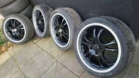 """17"""" alloy wheels deep dished with tyres 2"""" dish bk racing 4x100"""
