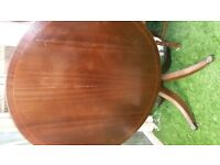 Round dining table - inlaid - claw feet - tilts