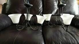 2 matching black metal ceiling light glass shades