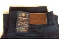 Brand new with tags Hammond & Co mens straight leg dark blue twill chinos 36W 32L top quality