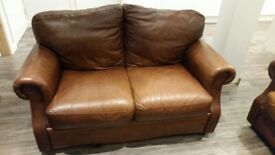 Italian brown leather sofas 2 & 3 seater