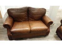 Italian brown leather sofas 2 & 3 seater