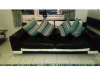 Sofa and 2 chairs black and cream leather