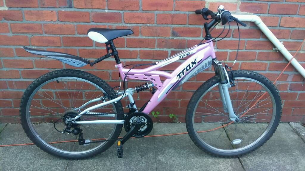 Ladies Trax TFSI mountain bike 16 inch frame, GOOD CONDITION and ready to ridein Sunniside, Tyne and WearGumtree - 26 inch wheels with good tyres, 18 speed gripshift gears, dual suspension, good brakes, good seat, mud gaurds, bell, can deliver for cost of fuel, contact bill 07478309256 sunniside NE16 5NU