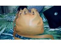 Radley mustard leather drawstring handbag shoulder bag