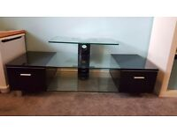 Glass tv stand with 2 draws