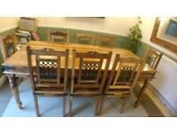 JaliJali Rustic Natural Honey Sheesham Indian Rosewood Dining Table Set + 8 Chairs