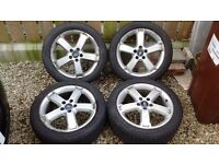 """17"""" Five spoke Ford Focus alloys with tyres x4"""