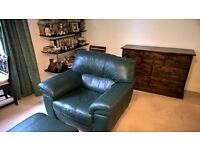 leather sofa, 2 arm chairs and 2 footstools, dark green.