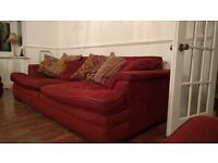 Burgundy Sofa in good condition. 4 seater, 2 seater and large armchair.
