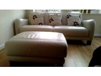 LARGE LEATHER SOFA/FOOTSTOOL BY LEE LONGLANDS COST £2500