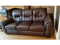 Brown leather sofa, less than 2 years old, excellent condition, hardly used