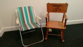 TODDLERS WOODEN MUSICAL ROCKING CHAIR AND FOLDING PICNIC CHAIR