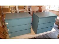 IKEA MALM 2 x chest of 3 drawers turquoise