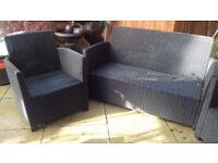 Rattan effect garden sofa & chairs Allibert range