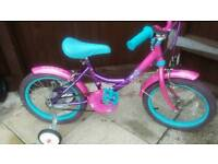 """Girls Sindy 16"""" Bike With Stabilisers And Bell"""