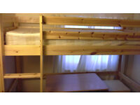 Wooden High Sleeper Bed, Teen/Adult single bed with a ladder and space for a table or storage.