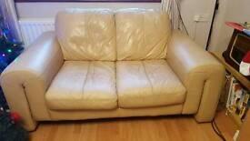 2 & 1 cream leather sofa