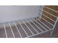 Single bed frame white metal