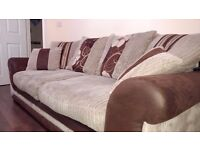 12 mths old 2x 3 seat sofa beige & brown faux leather with pattern scatter back