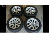 Genuine 16 inch BMW alloys with snow tyres