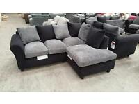 Brand new black / grey jumbo chord corner sofa