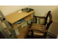 Beautiful desk and chair. Wooden Shelves