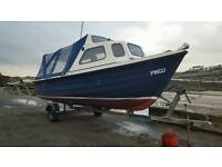 Orkney fastliner 19ft rare fishing boat with 2 covers
