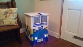 Childs Police Car Bedside Cupboard / Table