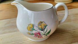 Vintage British Anchor Milk / Cream Jug Floral, Gold Rim