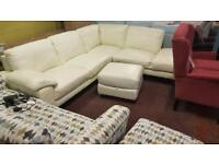 Ex-Display white/cream leather corner sofa