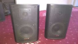 2 Black Ariston Acoustics MSX-07 Speakers with Wall Mounting Brackets