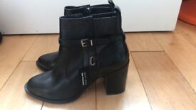 Brand New Black Leather Ankle Boots Size 6