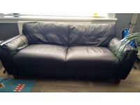 Three seater compact black leather - super comfy retro style sofa