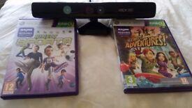 XBOX 360 KINECT SENSOR BAR WITH Kinect Sports and Kinect Adventures games