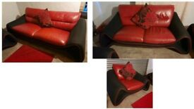 Stunning Black fabric and red leather stylish design 3 seater sofa and 2 seater and matching chair