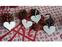 Clay Hearts in various Colours and Lettering*Tree Decorations* Gift Tag* Shabby Chic*Brocante*