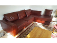 Real leather 3-seater sofa corner with chaise - M&S
