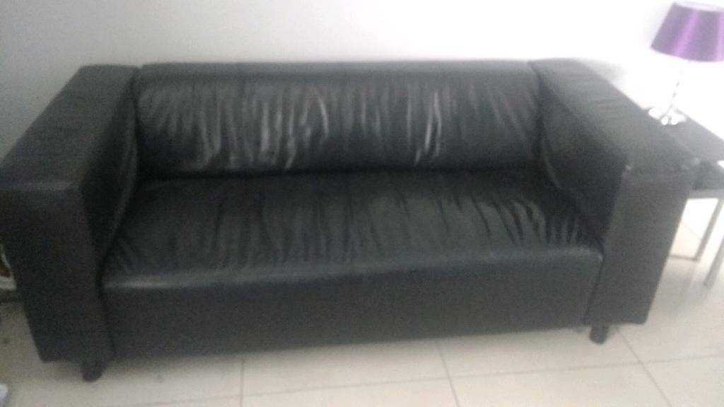 Black leather sofain FalkirkGumtree - Black leather modern 3 seater sofa good condition