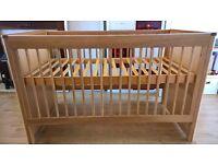 COST OVER £800 M&S 'Chloe' solid oak & oak veneer cot bed, under-bed storage drawer & chest of drawe