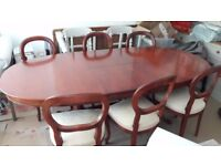 Very good quality extendable wooden dining table and six upholstered chairs, M&S original