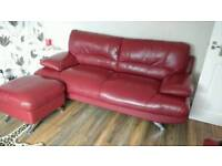 Leather lounge suite consisting of a 3 seater, 2 seater, 1 chair and 1 foot stool