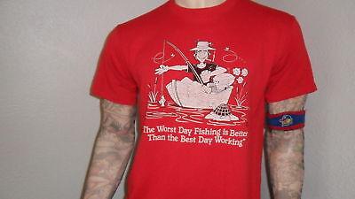 vtg 80's FISHING SHIRT beer drinking smoking worst day beats best day