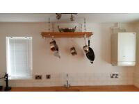 LARGE HAHN CEILING MOUNTED WOODEN PAN RACK FOR SALE IN PORTHCAWL AT £85