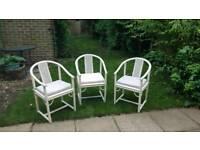3 x white Ratan chairs with cushions