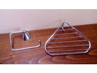 Bathroom Fittings, shower corner basket, toilet roll holder and shelf support
