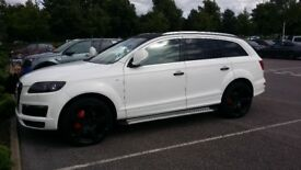 "AUDI Q7 S LINE QUATTRO 3.0 TDI WRAPPED IN WHITE WITH 22"" ALLOY WHEELS + FSH 7 SEATER"