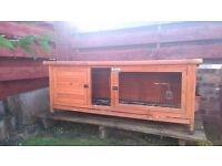 Single storey used 'pets at home' rabbit and guinea hutch with waterproof cover