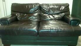 2 seat + 3 seat Cream Lether Sofa Suite; and 2 seat Brown Lether Sofa