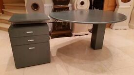 Modern style working desk unit with cabling and pedestal with document storage unit